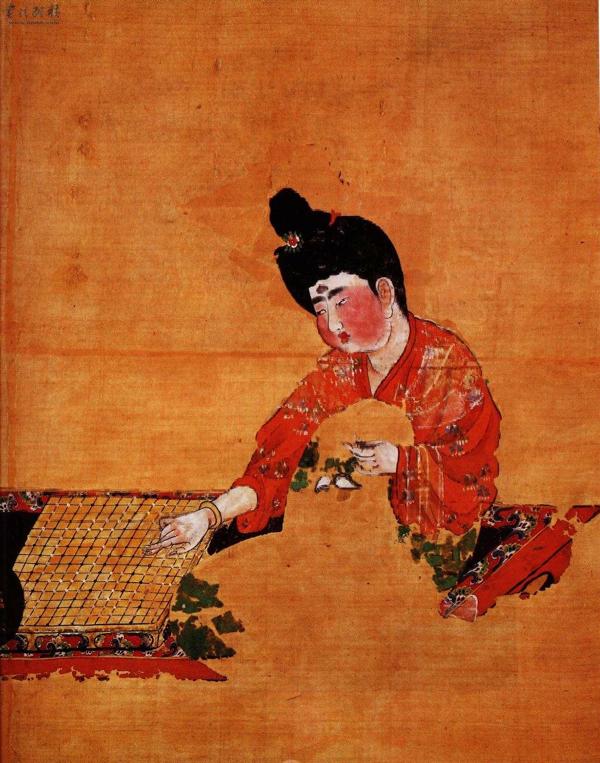 《唐代弈棋仕女图》,吐鲁番阿斯塔那187号墓出土,现藏于新疆自治区博物馆