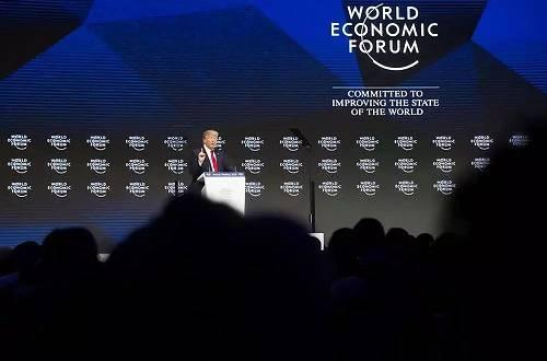 2018年1月26日,在瑞士达沃斯,美国总统特朗普列席全国经济论坛年会并讲话。新华社记者徐金泉摄