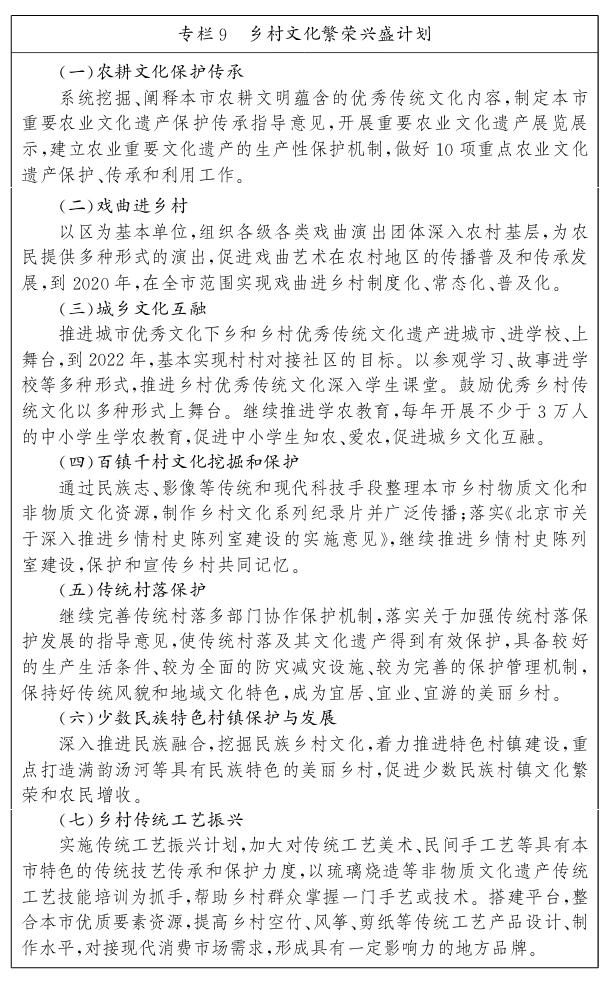 北京市鄉村振興戰略規劃(2018—2022年)