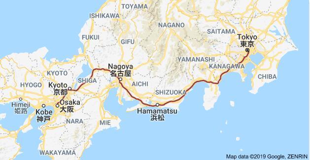 东海道新干线图,来自谷歌地图