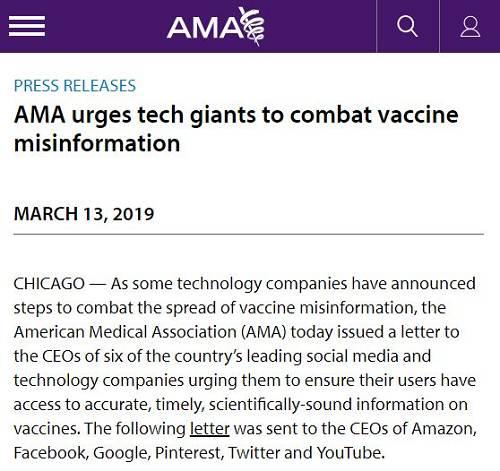 """这封信的内容,是向亚马逊、Facebook、谷歌、Pinterest、Twitter和 YouTube 等企业的首席执行官求助,要他们帮忙阻断错误信息的传播,制止国内一场风起云涌的运动――""""反疫苗"""",称这场运动已经使得部分疾病在美国大幅上升,并对公共健康构成威胁。"""