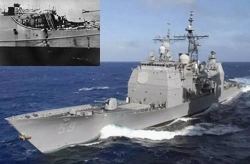"""同一天被炸残的美海军""""普林斯顿""""号导弹巡洋舰,小图标出的是被重创的舰艉部分。"""