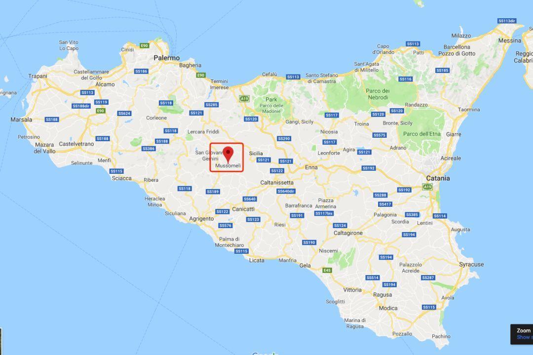 穆索梅里镇在西西里岛上的位置(图片来源:谷歌地图)图片
