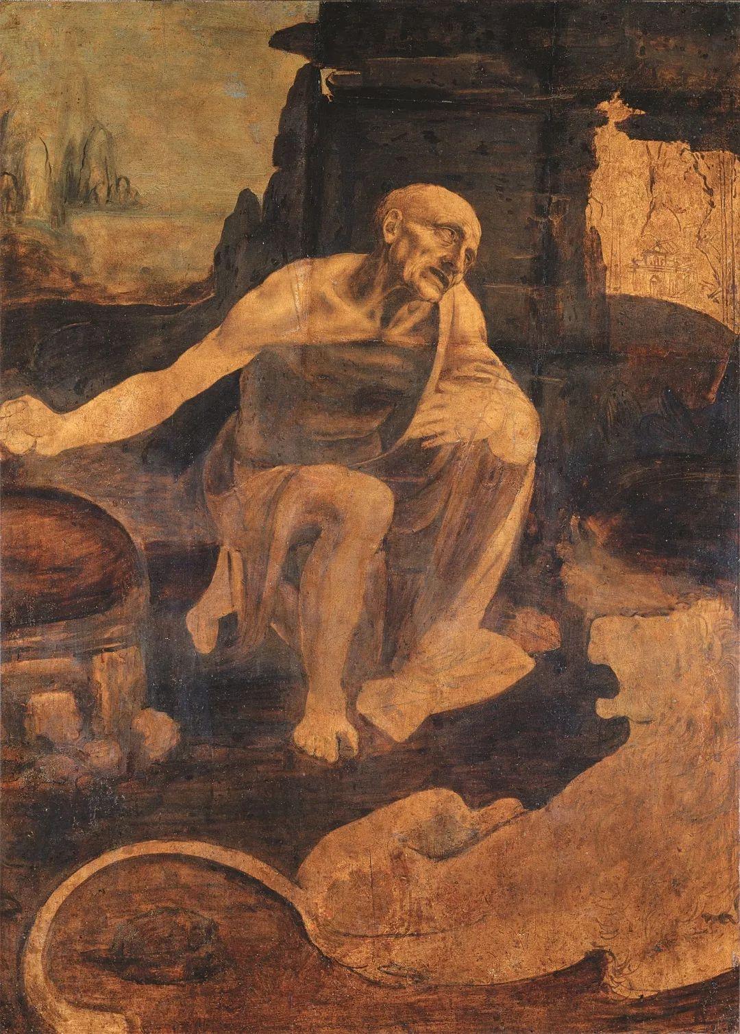 """列奥纳多在绘画上的创新之一是对人物内心世界的把握和传达,他继承和发扬了文艺复兴时期艺术家阿尔贝蒂的训示,即应由内而外构思人物。列奥纳多写道,""""画家要想善于设计人体的姿势和手势,有必要了解肌腱、骨骼和肌肉的解剖学""""。这一点在圣杰罗姆身上表现得尤为突出,他扭曲的身体和痛苦的跪姿传达出内心的宗教热忱。但是,这幅手稿有一处令人疑惑不解的解剖学细节。"""