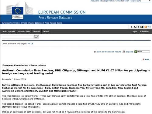 不过与此同时,由于告密揭发有功,瑞银(UBS)则逃脱了原本高达2.85亿欧元的处罚。