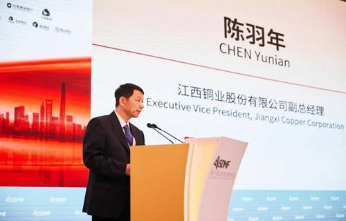 图为江西铜业股份有限公司副总经理陈羽年为大会致辞