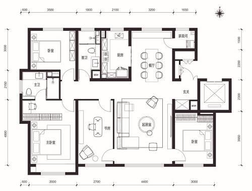 未来金茂府160�O四室两厅两卫户型图
