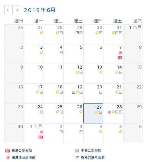 因香港回归纪念日 7月1日港股休市