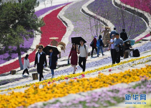 游客在北京世园会天田山游玩(5月1日摄)。新华社记者 张晨霖 摄