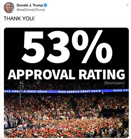 特朗普秀声援率/推特截图