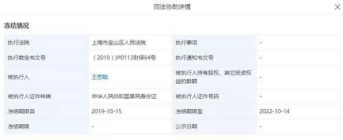 北京普思投资有限公司司法协助详情。截图来源:天眼查