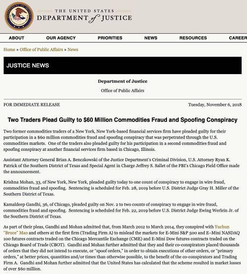 对于中国籍交易员Yuchun(Bruce)Mao,美国司法部并没有透露最新情况。但据媒体报道,此人于2015年即出走美国,回到国内。