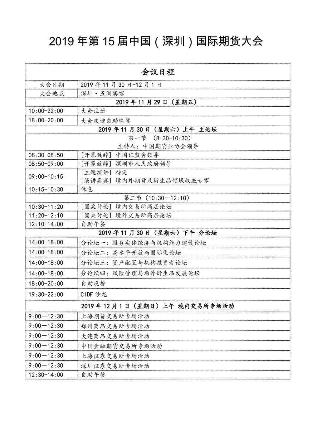 第15届中国(深圳)国际期货大会11月30日至12月1日将在深圳举行