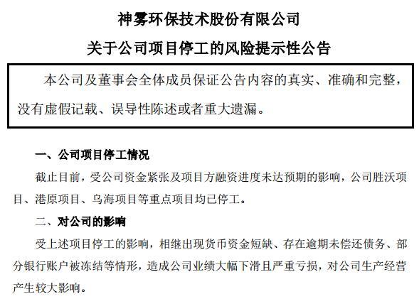 A档案|神雾环保四面楚歌:资金链紧张导致三大重点项目停工 一天连收两份监管函