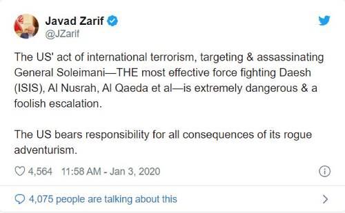 伊朗外交部长贾瓦德·扎里夫社交媒体截图