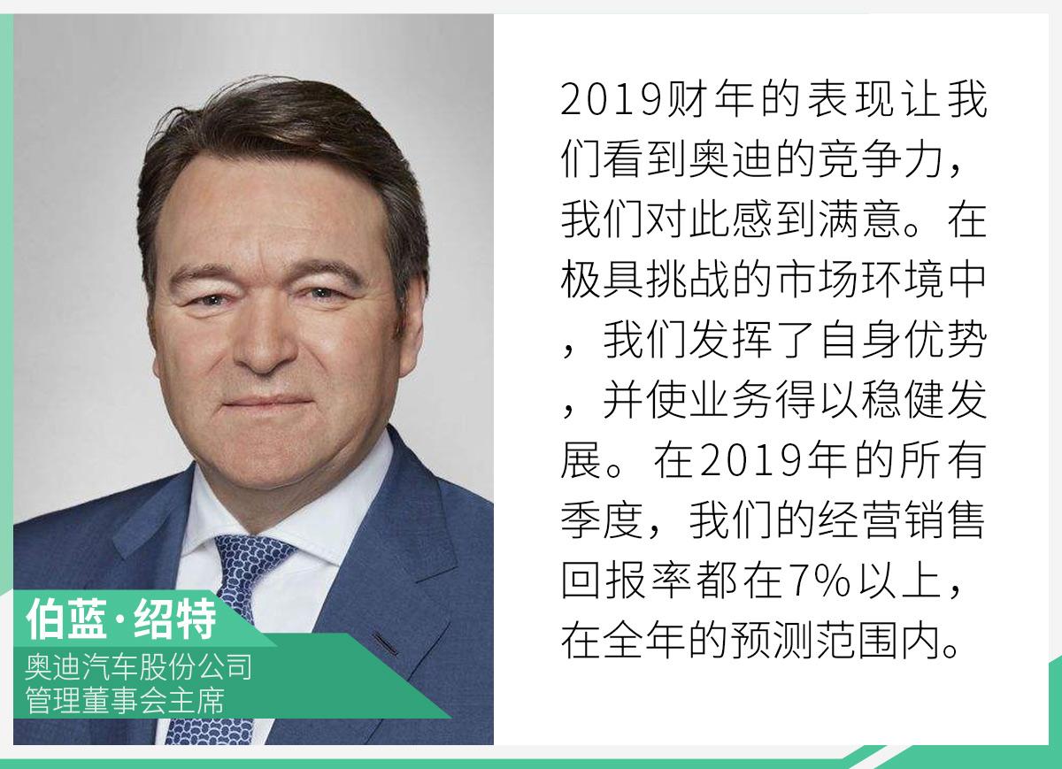 奥迪2019财年利润达45亿欧元 年内将推20款新车
