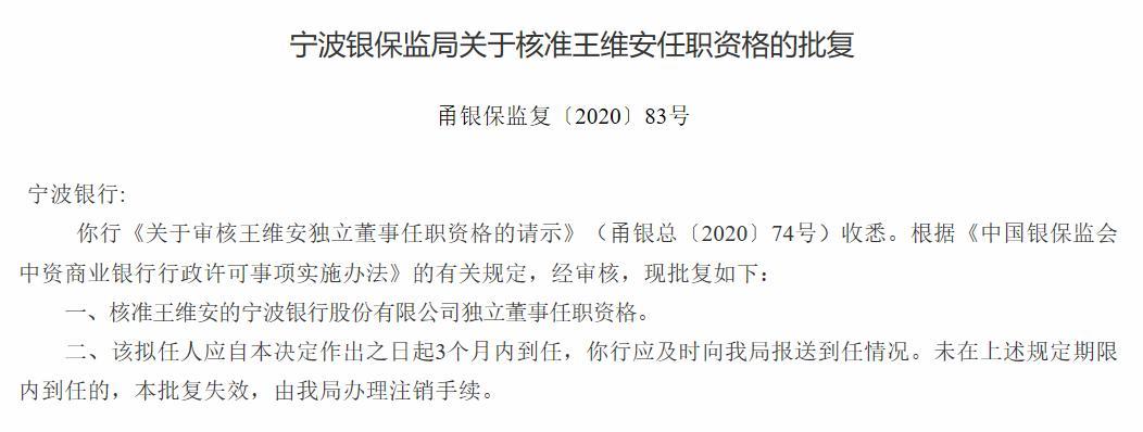 宁波银行独立董事贝多广、王维安