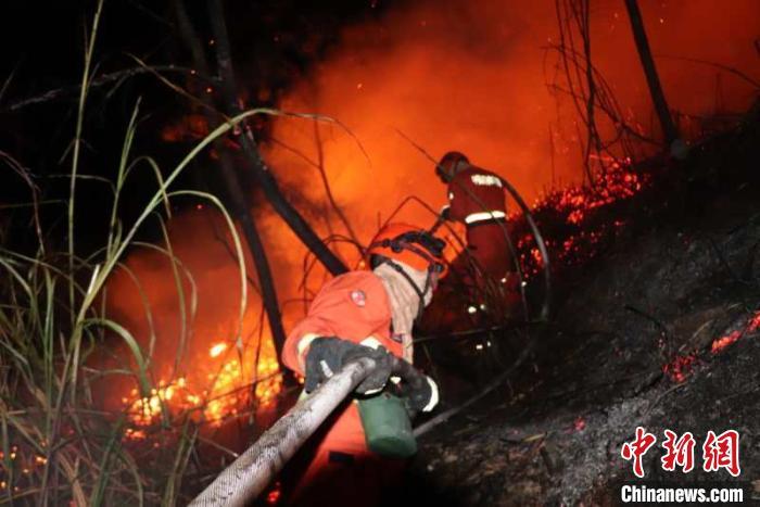 福建大田发生森林火灾 森林消防连夜扑救