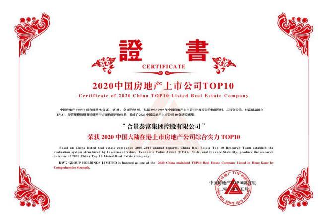 """合景泰富集团获""""2020中国大陆在港上市房地产公司综合实力TOP10"""""""