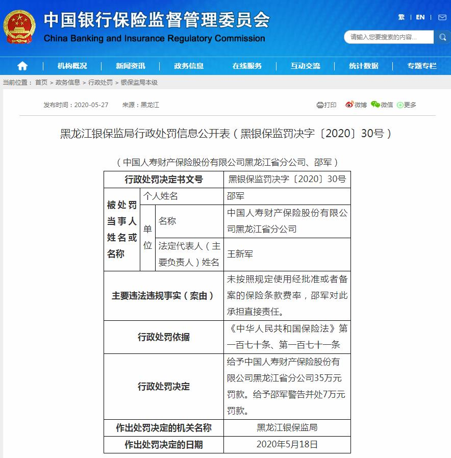 国寿财险黑龙江分公司未按规使用条款费率 合计被罚42万元