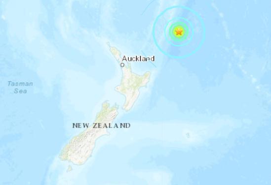 新西兰东北部海域发生7.1级地震 震源深度10千米