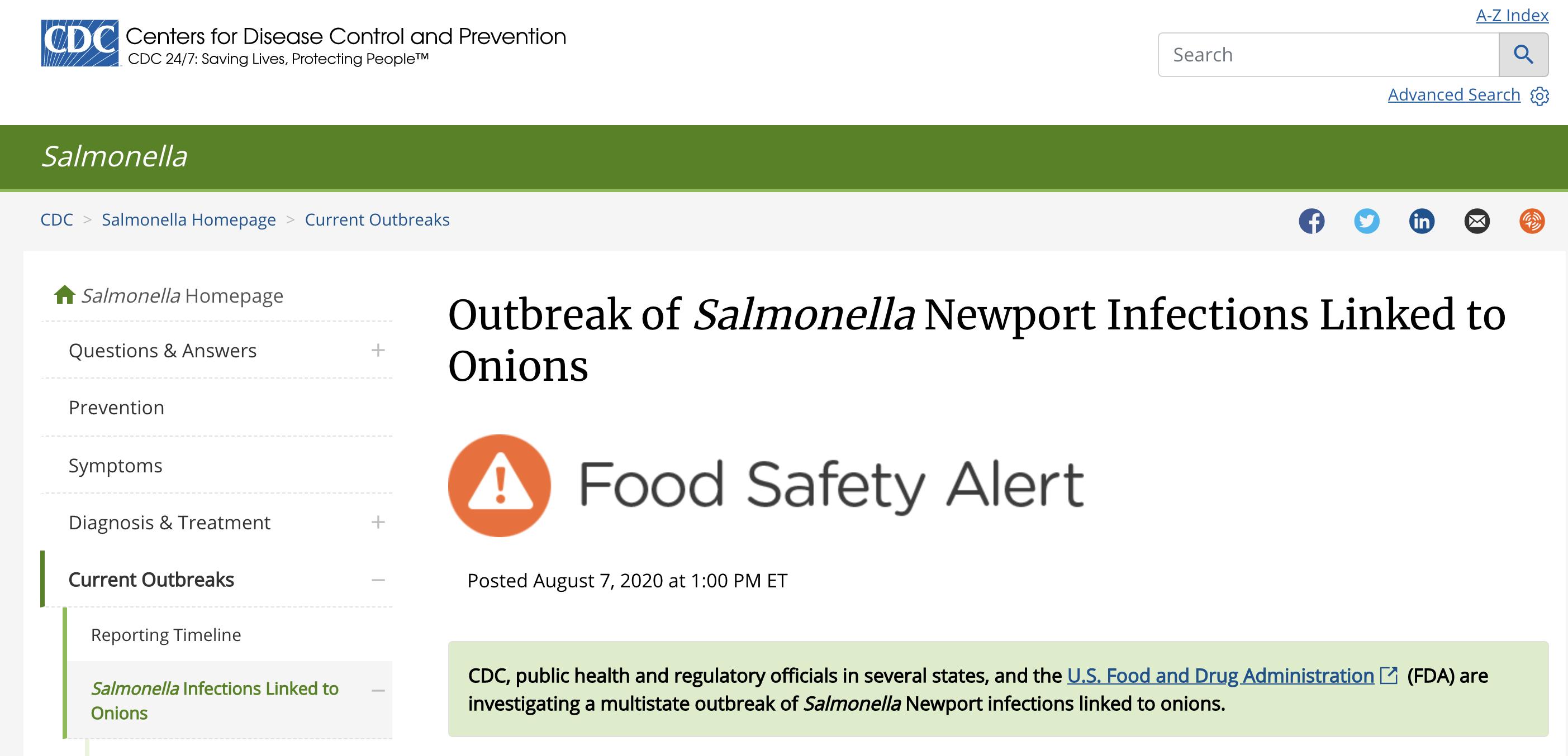 美国43州640人感染沙门氏菌,来源或为洋葱