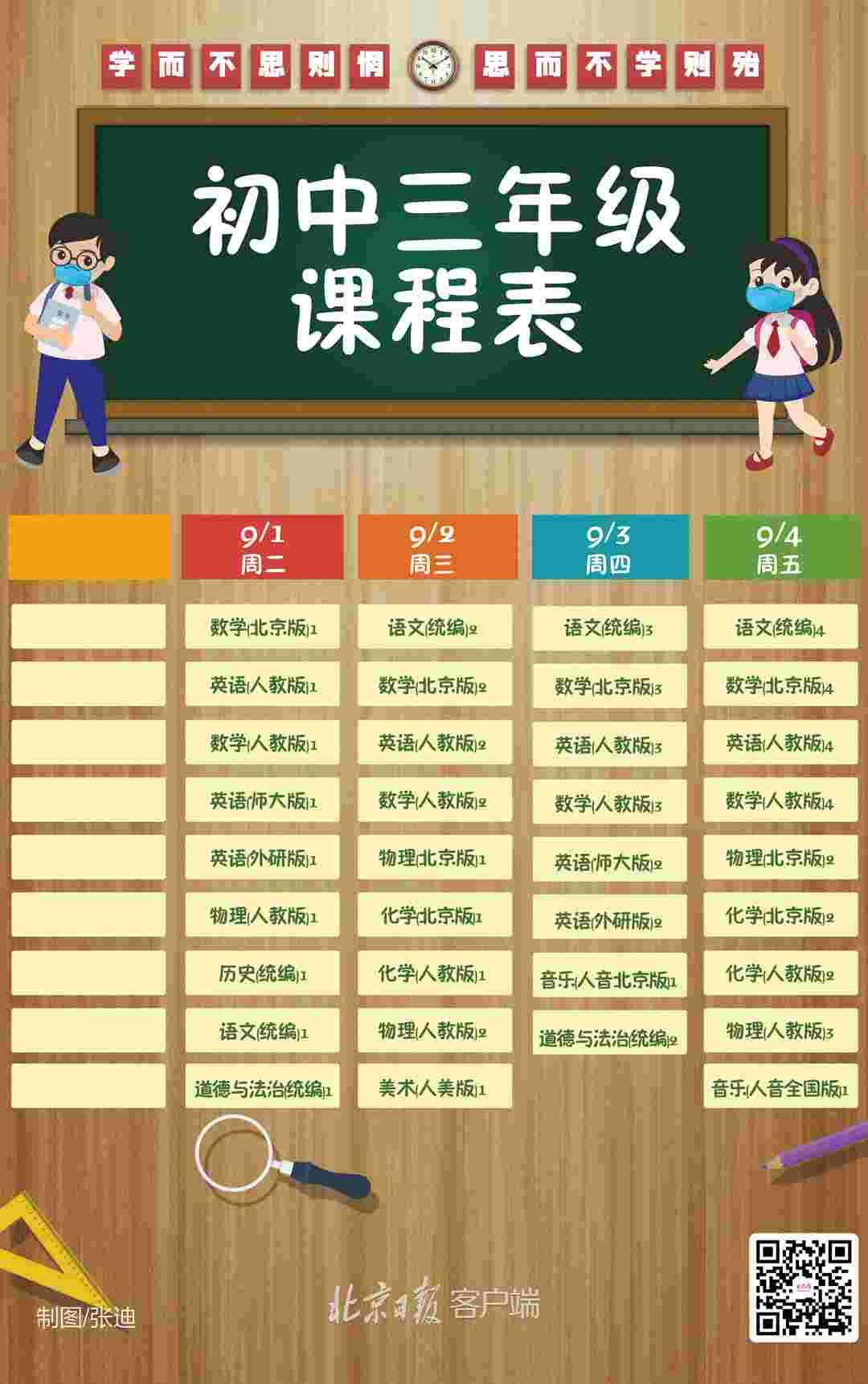 """开学了!北京中小学""""空中课堂""""一周课程表出炉,收藏!"""