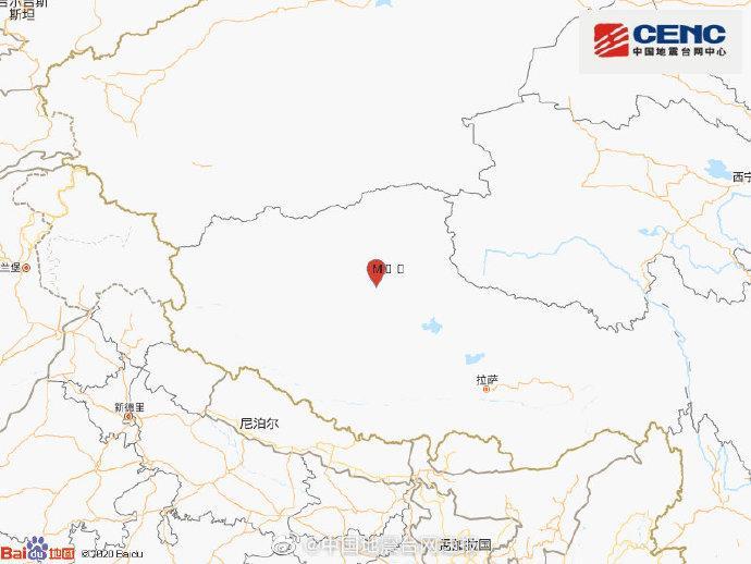 西藏那曲市尼玛县发生3.1级地震 震源深度7千米