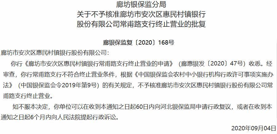 安次区惠民村镇银行拟关闭支行网点 廊坊银保监局:不同意