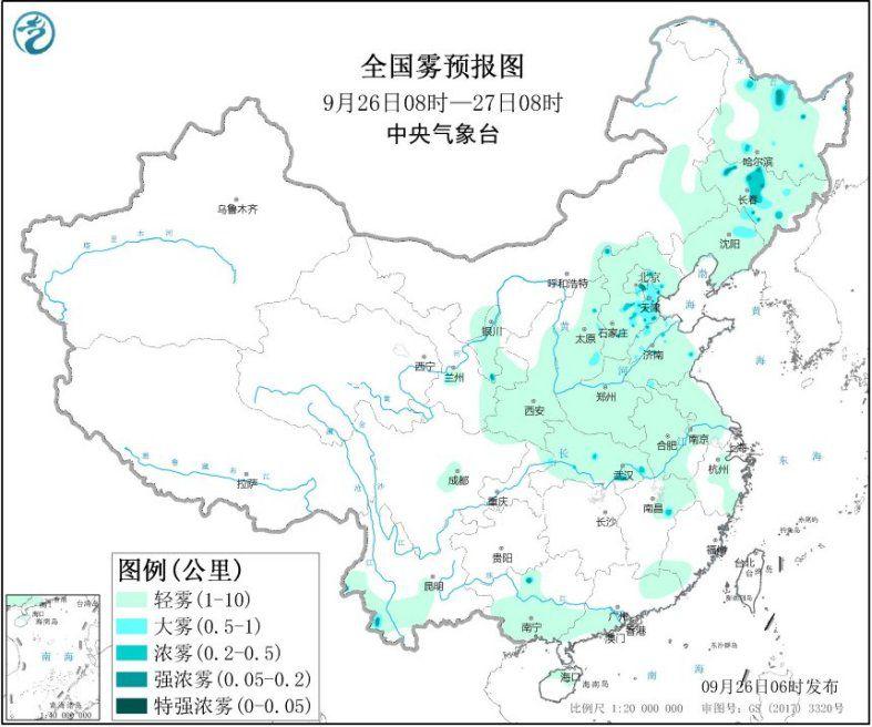 江南中南部和华南等地有中到大雨 河北东北等地大雾