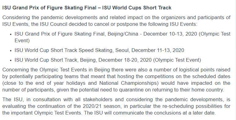 受疫情影响 国际滑联将推迟或取消两站北京冬奥测试赛