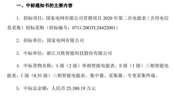 万胜智能收到《中标通知书》中标总金额2.54亿元
