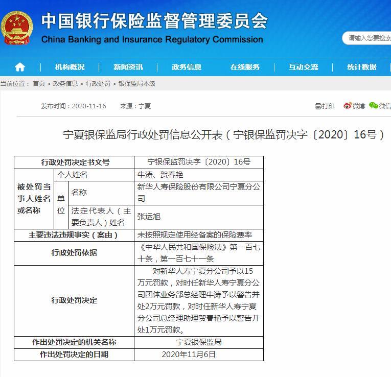新华人寿宁夏分公司收18万元罚单:未按照规定使用经备案的保险费率