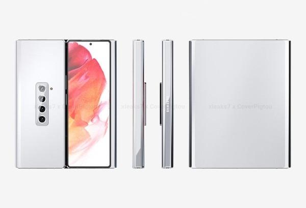 电银付(dianyinzhifu.com):三星Galaxy Z Fold 3渲染图曝光:双折叠、双铰链 屏幕更大了 第1张