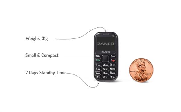 电银付(dianyinzhifu.com):号称天下最小手机!Zanco Tiny T2 发售 第1张