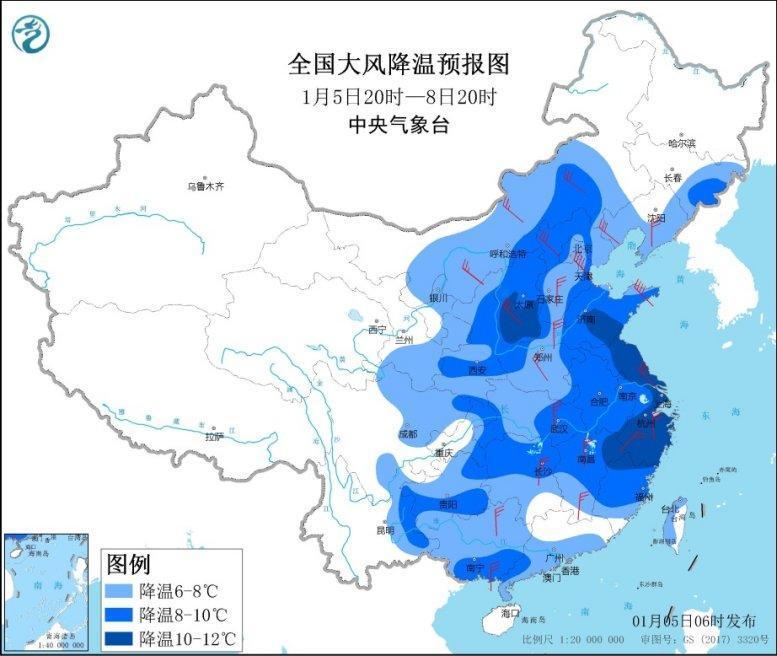 寒潮天气将影响中东部 部分地区降温幅度可达10℃以上