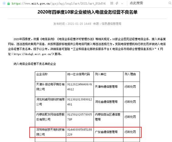 """深圳创梦天地被纳入""""电信业务经营不良名单"""" 其app存在""""未经用户同意收集使用个人信息""""等四大违法行为被罚4万元"""