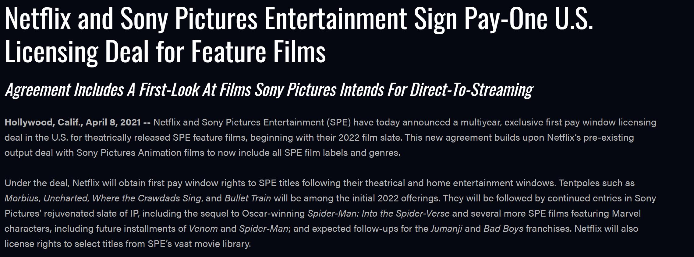 奈飞、索尼达成全面合作协议 独占《蜘蛛侠》等影片在美流媒体平台首播权