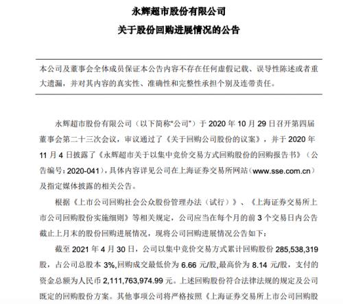 永辉超市:已耗资逾21亿元回购3%公司股份
