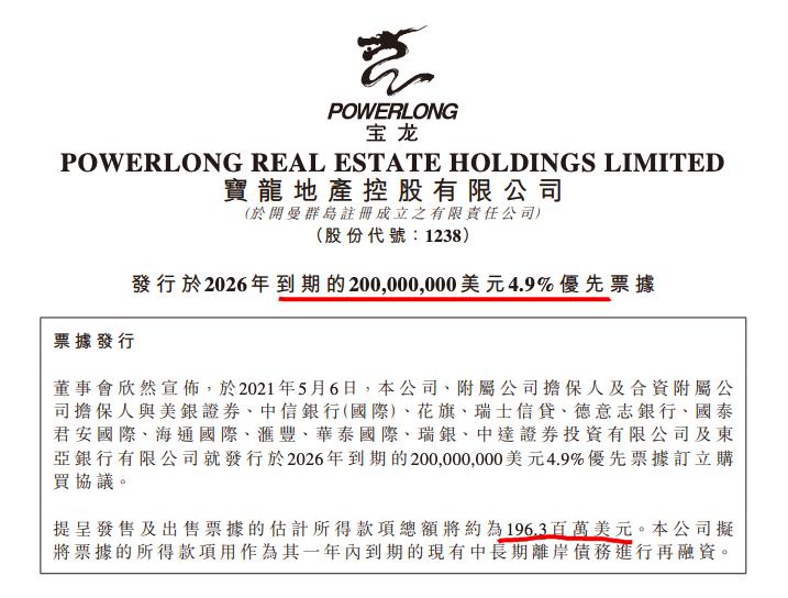 宝龙地产债务筹资折价再发2亿美元债 去年末有息负债涨至665.67亿元