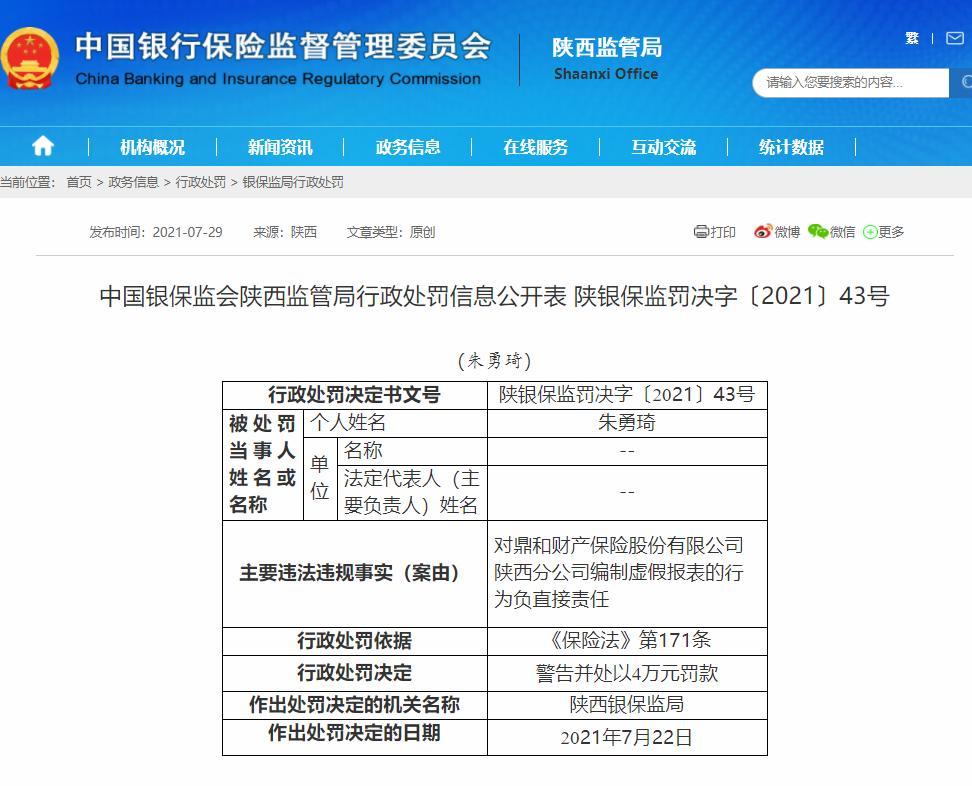 编制虚假报表 鼎和财险陕西分公司被罚25万元