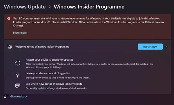微软下手 警告使用过时硬件的Win11预览版会员:尽快回退Win10