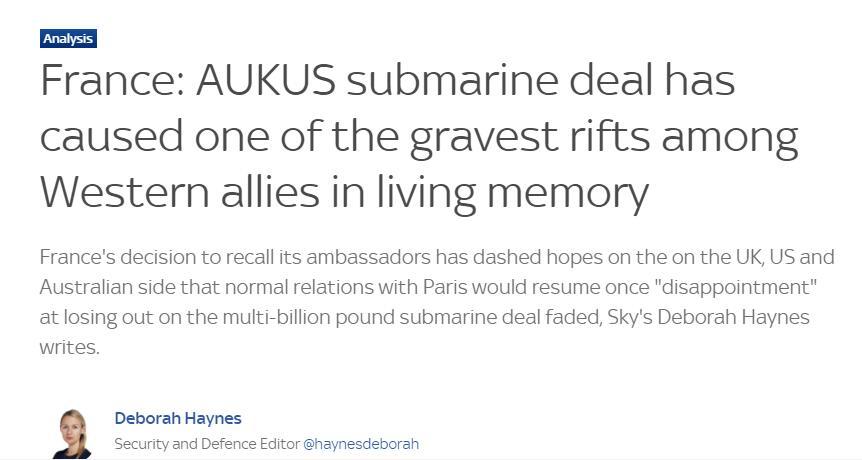 """法国愤怒召回驻美澳大使,英媒感叹:西方盟友间""""最严重的裂痕之一"""""""