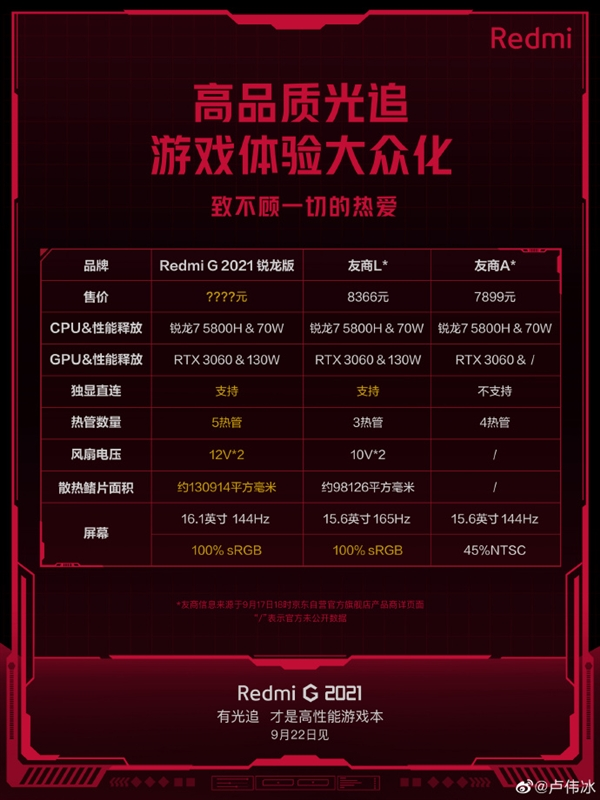 Redmi G游戏本明天见:战力拉满 价格会是惊喜